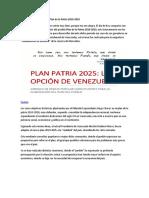 Breve análisis del posible Plan de la Patria 2019