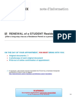 RENEWAL of a STUDENT residence permit - 2018