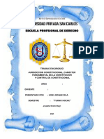 LA JURISDICCIÓN CONSTITUCIONAL, CARACTER FUNDAMENTAL DE LA CONSTITUCION Y CONTROL DE CONSTITUCIONAL