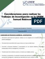 Criterios para realizar los Trabajos de Investigación en la UNEM Samuel Robinson (1)