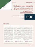 Carmona, L. S, y Álvarez, D. C, - La Región como expresión geográfica de las metrópolis colombianas