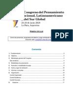 1° circular - Primer Congreso del Pens. Nac., Latinoamericano y del Sur Global