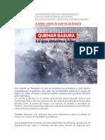 calendario ambiental y nota quema de basura
