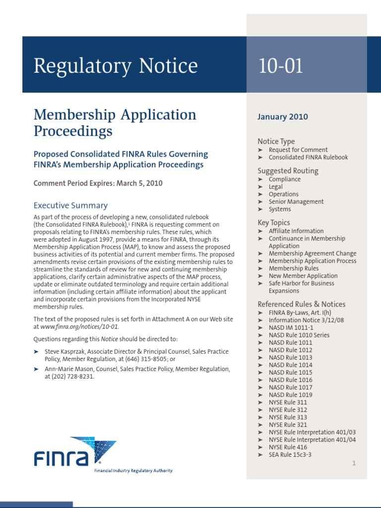 Finra Notice 10 01 Financial Industry Regulatory Authority