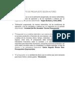 CONCEPTO DE PRESUPUESTO SEGÚN AUTORES
