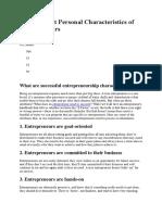 10 Important Personal Characteristics of Entrepreneurs