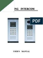 User Manual Of Coding Intercom For Apartment