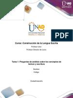 Formato Tarea 1 - Responder Preguntas de Análisis Sobre Los Conceptos de Lectura y Escritura