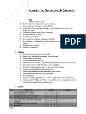 5S Guidelines, Checklist, Rules & Responsibility | Warehouse