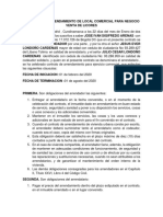 CONTRATO DE ARRENDAMIENTO DE LOCAL COMERCIAL PARA NEGOCIO VENTA DE LICORES