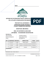 ESPECIFICACION TECNICA DE FAJAS TRANSPORTADORAS