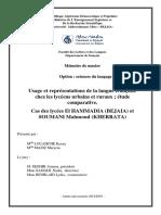 LOUAHCHE Kenza, MAZIZ Meryem - Usage et représentations de la langue française chez les lycéens urbains et ruraux ; étude comparative