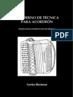 Cuaderno De Técnica Para Acordeón Enseñanzas Elementales