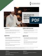 Brochure Diplomado en Gestión de Restaurantes 2019