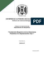 Fundamento Bioquimico de las Alteraciones Presentes en la Hiperamonemia Tipo I