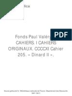 Fonds Paul Valéry. C CAHIERS. I CAHIERS ORIGINAUX. CCCCXI Cahier 205. « Dinard II ».