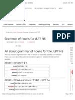 Grammar of nouns for JLPT N5 (Small)
