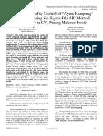 "Strategy for Quality Control of ""Ayam Kampung"" Production Using Six Sigma-DMAIC Method (Case Study in CV. Pinang Makmur Food)"