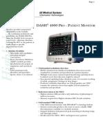 GE Dash 4000  Pro Patient Monitoring Brochure