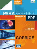 (Français intermédiaire_avancé) Maria Popica_ Isabelle Ste-Marie - Paragraphes_ Pratiques de rédaction. Corrigé-Éditions CEC (2014)