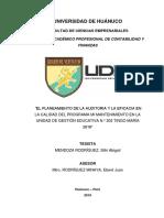 EL PLANEAMIENTO DE LA AUDITORIA Y LA EFICACIA EN LA CALIDAD DEL PROGRAMA MI MANTENIMIENTO EN LA UNIDAD DE GESTIÓN EDUCATIVA Nº 302 TINGO MARÍA 2018