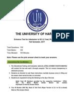 University of Haripur ETEA