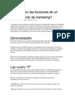 Cuáles son las funciones de un departamento de marketing