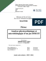 Analyse physicochimique et microbiologique d'un jus IFRUIT