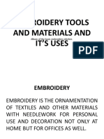 EMBROIDERY TOOLS AND MATERIALS AND IT'S USES