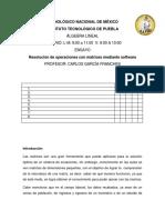 Resolución de operaciones con matrices mediante software