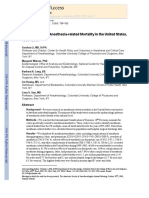 Epidemiology of Anesthesia-related Mortality in the United States,
