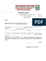 Formato Para Matrícula y Actualización de Datos 2020 Actualizada Al 31 enero 2020