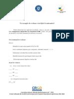 Activitatea 2.5.a Un Exemplu de Evaluare a Învățării La Matematică
