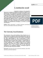 LA UNIVERSIDAD INSTITUCIÓN SOCIAL