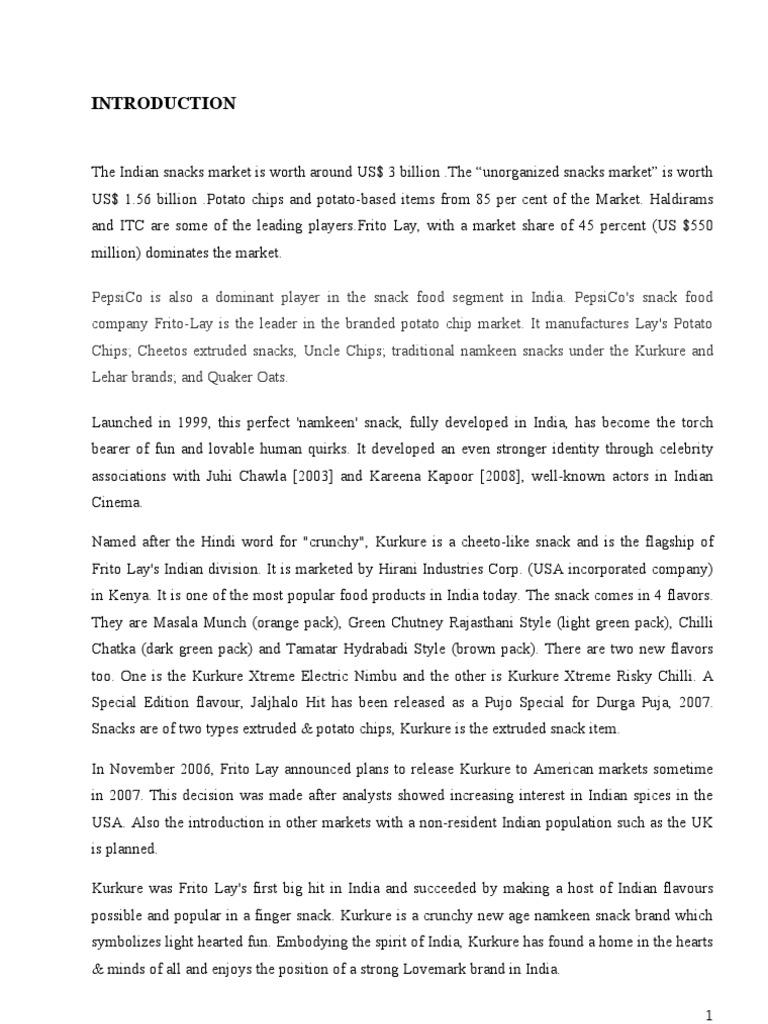 project report on kurkure | Potato Chip | Retail