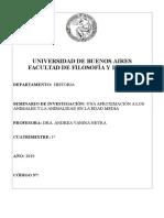 SEMINARIO DE INVESTIGACIÓN - UNA APROXIMACIÓN A LOS ANIMALES Y LA ANIMALIDAD EN LA EDAD MEDIA (NEYRA) - 1C 2019