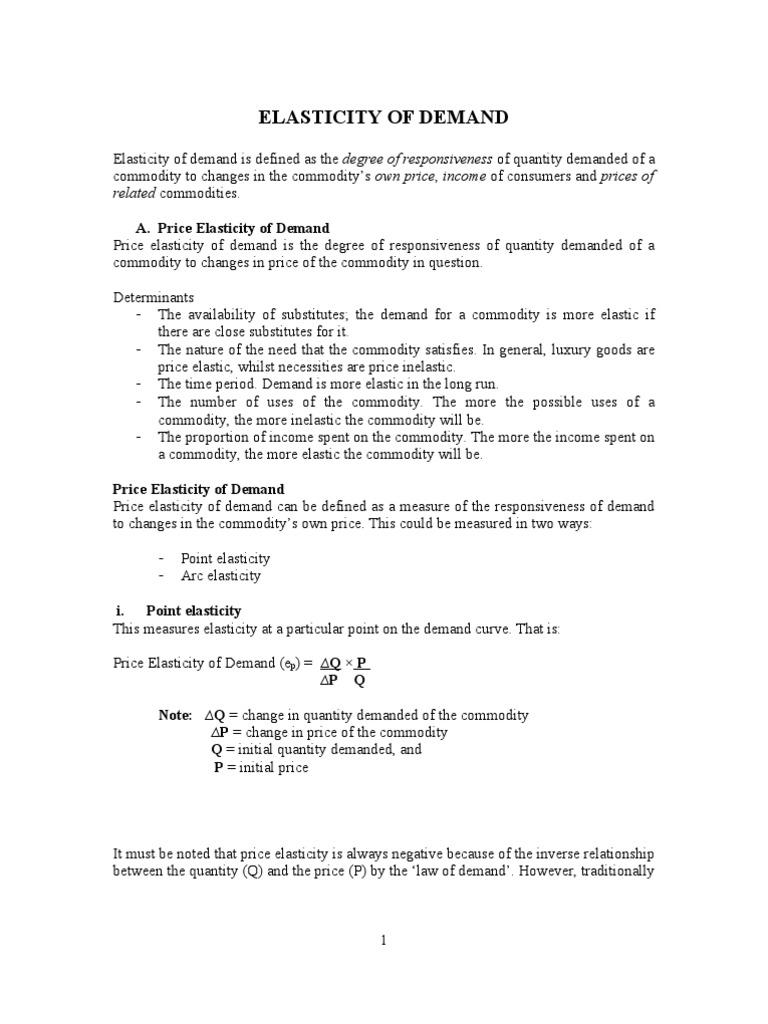 arc elasticity vs point elasticity