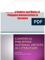 Canonical Authors and Works of Philippine National Artists
