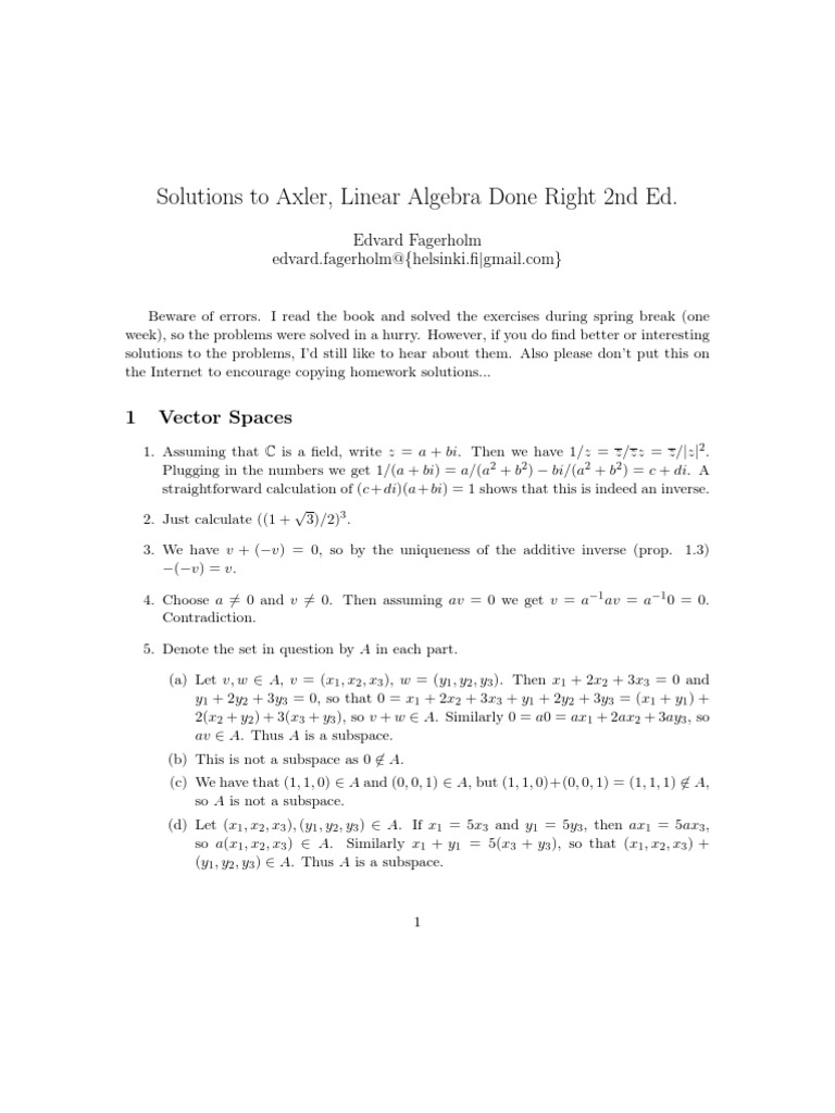 Solutions to Axler Linear Algebra Done Right | Eigenvalues And Eigenvectors  | Algebra