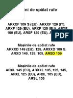 Manual de Utilizare Pentru Masinile de Spalat Rufe Ariston ARXXD ARSF ARXXL
