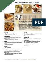 Menu de La Cuisine de Meme Moniq 25 Au 31 Janvier