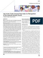 Use of the Tooth Coronal Pulp Index for Recognition of the Pubertal Growth Period