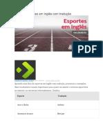 Lista de Esportes em inglês com tradução