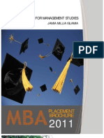 MBA Placement Brochure 2011, Jamia Millia Islamia.