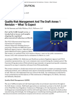 Quality Risk Management And The Draft Annex 1 Revision — What To Expect