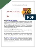 ISO 9001 Certification in Turkey | ISO 9001 Certification Provider in Turkey