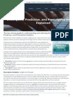 Descriptive, Predictive, and Prescriptive Analytics Explained