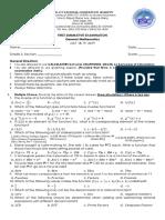 General Mathematics First Summative Examination