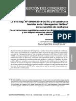 """CDG-El constructo hechizo de la """"denegación fáctica"""" de la cuestión de confianza (STC 6-2019-CC)"""
