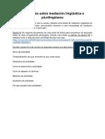 Actividad Sobre Mediación Lingüística y Plurilingüismo